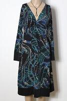 BEATRICIA Kleid Gr. 36-38 schwarz-bunt Empire Slinky Muster Kleid