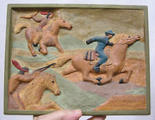 Vintage Chalk Plaque Native Americans Attack Pony Express 1860 Sculp Ceramic 58