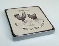 Set 4 Coasters Country Kitchen Cream Chicken Cockerel Cork  Table New