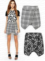 Ladies Floral Embossed Skorts Shorts Skirt Culottes Tartan Asymmetric Wrap