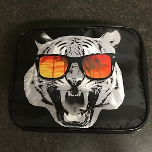 Tiger Lunchbox Insulated Black Orange Tiger Roar Sunglasses Palm Tree Sunset