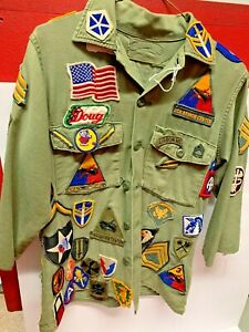 Vintage US ARMY Vietnam Era Uniform with 95 patches MILITARY Shirt Jacket Olive