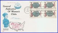 USA3 #1316 U/A COVER CRAFT FDC BL4  Gen. Federation of Womens Clubs
