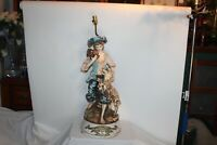 LARGE Antique Capodimonte Figural Table Lamp Boy Dog Porcelain Sculpture
