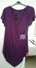 BNWT Ladies SOUTH Evening Top with Bead & Sequin Detail - Purple/Plum - Size 24