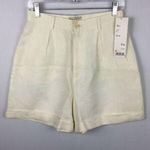 Esprit Vintage Linen Shorts Pleated High Waist White Women's 9/10 New Deadstock