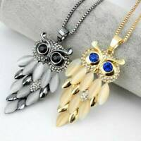Fashion Women Crystal Rhinestone Owl Pendant Long Sweater Chain Necklace