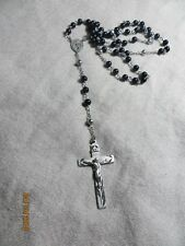 """Vintage Grenci 925 Sterling Silver Rosary with Black Beads  Jesus/Mary medal 25"""""""