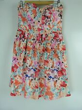 DOTTI Corset dress Sz 12 Pink orange blue floral print
