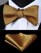 Men's Gold Check Plaid Self Bow Tie Silk Woven Wedding Pocket Square Set BC614DS