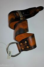 $595 NWT Authentic Ralph Lauren Brown Contoured Leather Belt, Made in Italy, S