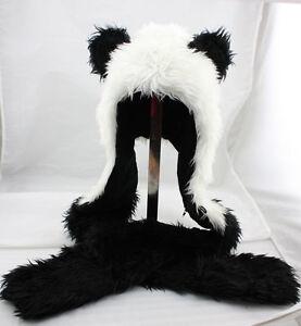 Panda Full Animal Hood Hoodie Hat Faux Fur 3 in 1 Function
