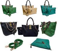Ladies Women Real Genuine Leather Large Black Tote Bag Shoulder Handbag Designer