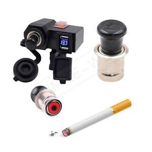 Motorcycle 12V/24V Dual USB Charger Cigarette Lighter Plug Socket Voltmeter New