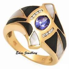 US$3179 Stunning ONYX TANZANITE MOTHER OF PEARL DIAMOND Gold Ring 80% OFF SALE