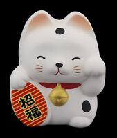 Hucha Baby Gato Japonés Blanco 7cm Cerámica Fabricado en Japón Maneki Neko 40649