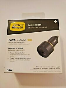 OtterBox - Premium Fast Charge PD USB C Car Charger 18W - Black Shimmer, NEW