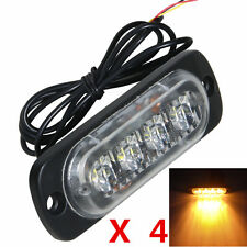 4x Amber 4 LED Flashing Light Warning Hazard Emergency Beacon Strobe Car Truck