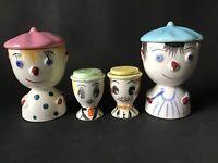 Vintage Japan Boy Girl Double Egg Cup Salt Pepper Clown Porcelain Lot Set 4 Pcs