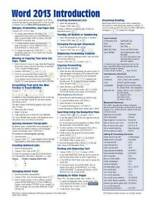 Microsoft Word 2013 Introduction Quick Reference Guide (Cheat Sheet of In - GOOD
