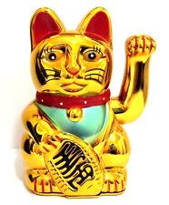"LARGE Feng Shui GOLD BECKONING CAT Wealth Lucky Waving Kitty Maneki Neko 7"" Tall"