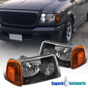 For 2001-2011 Ford Ranger Black Head Lights+Corner+Bumper Signal Lamps Black