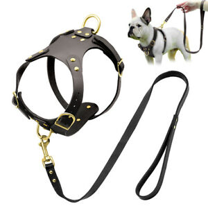 No Pull Front Clip Dog Harness Lead Leather Small Pet Puppy Vest French Bulldog