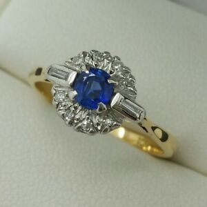 18ct Yellow Gold Sapphire & Diamond Deco Style Cluster Ring, Finger Size N