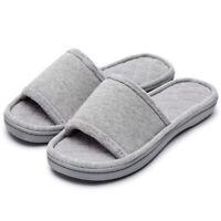 Women's Comfort Memory Foam Slippers Cotton House Spa Shoes Beige Gray Pink Blue