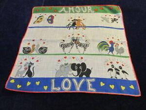 Vtg Amour Love Dessin Depose Handkerchief Hanky Designer Cat Bird Animals D1n