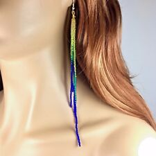 NEW WOMEN HANDCRAFTED BEADED EXTRA LONG FASHION HOOK EARRINGS E58/6 NICKLE FREE