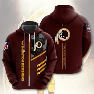 Washington Redskins Hoodie Sweatshirt Men Casual Pullover Jacket Coat Tops M-5XL