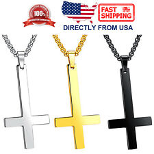Men's Stainless Steel Inverted Upside Down Cross of Saint Peter Pendant Necklace