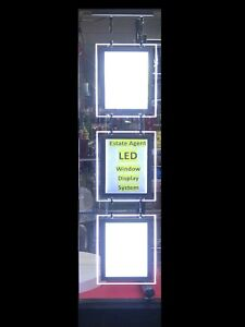 Magnetic 3X A4 LED Double Side Window Light Pocket Panel Estate Agent Display