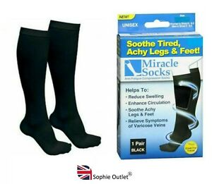 Travel MIRACLE FLIGHT SOCKS Compression Anti Swelling Fatigue DVT Support UK