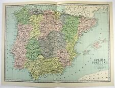 Original 1883 Map of Spain & Portugal by J. Bartholomew