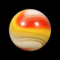 "Vintage Popeye Marble Akro Agate 5/8"" Red Yellow White Whispy Swirl .63"" Mint"