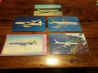 Lot Vtg 5 Airline Postcards Pan Am United Continental DC-8 Boeing Advertising