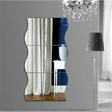 6pcs Waves Shape Self-adhesive 3D Mirror Wall Stickers Decal Room Decorations EW