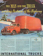International Truck, Teamster, Freight, Tractor Trailer, Driver, 1939 Vintage Ad
