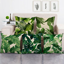 Tropical Leaves Throw Pillow Cover Decorative Burlap Square Outdoor Cushion Case