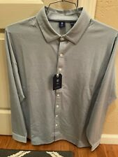 NEW FootJoy Supima LS Stretch Button Down, Large, Blue, 25861