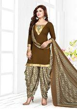 Beige Indian Designer Printed Crepe Salwar Kameez Unstitched Suit D.No AR5018