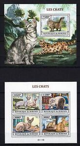 BURUNDI 2013 LES CHATS CATS WILD DOMESTIC ANIMALS KATZE GATOS FAUNA STAMPS MNH**