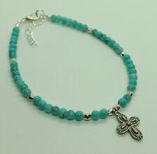 Turquoise Blue Glass Beads Cross Charm Anklet Ankle Bracelet Boho Hippy Festival