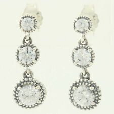NEW Authentic Pandora Eternal Elegance Earrings Silver Clear Pierced 290742CZ