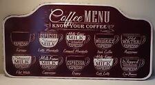 LARGE COFFEE MENU EMBOSSED METAL SIGN RUSTIC VINTAGE STYLE CAFE COFFEE SHOPS