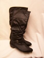 Faded Glory WOMENS Black Faux Leather Buckle Boots Size 6.5 NEW