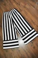 Lagenlook Blockstreifen Jersey Marlenehose mit Ansatz black&white 44,46,48,50,52
