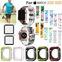 For Apple iWatch Series1 2 3 Silicone Frame Case Cover & Watch Band  Sport Strap